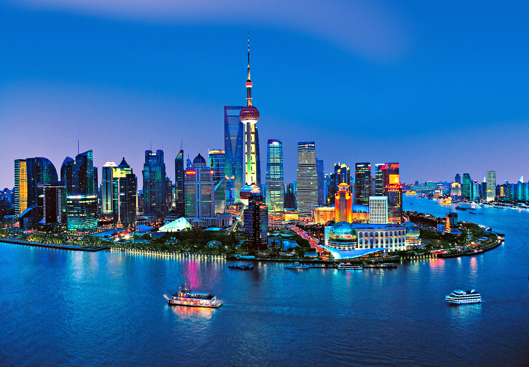 fototapete shanghai skyline 366x254 abendlicher blick auf pudong china asien ebay. Black Bedroom Furniture Sets. Home Design Ideas