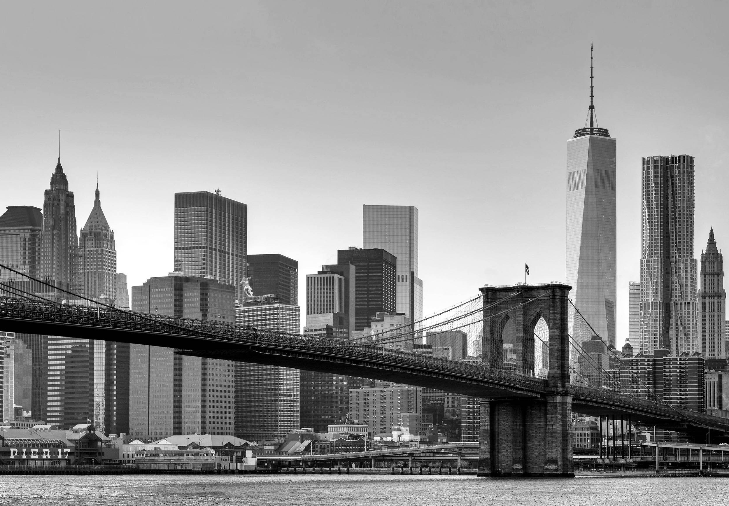 Fototapete new york 366 x 254 cm brooklyn bridge for Black and white new york mural wallpaper