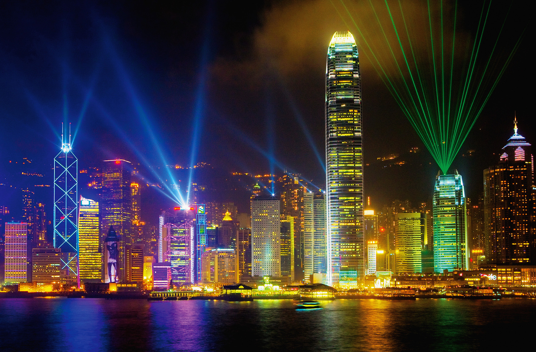 fototapete victoria harbour 175x115cm giant art poster hong kong skyline nacht ebay. Black Bedroom Furniture Sets. Home Design Ideas