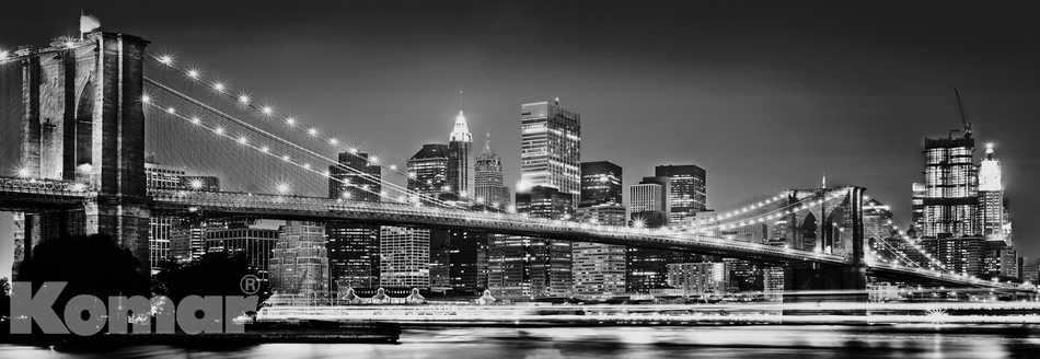 fototapete brooklyn bridge 368x127 new york panorama sw skyline manhattan nacht ebay. Black Bedroom Furniture Sets. Home Design Ideas
