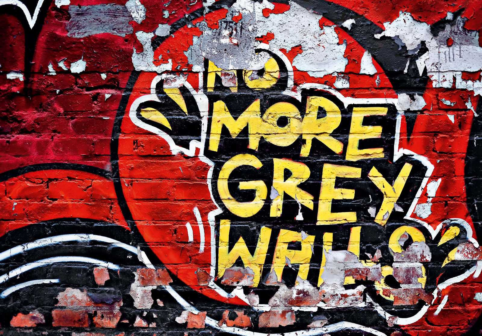 fototapete no more grey walls 366x254 strahlendes graffiti backstein mauer wand ebay