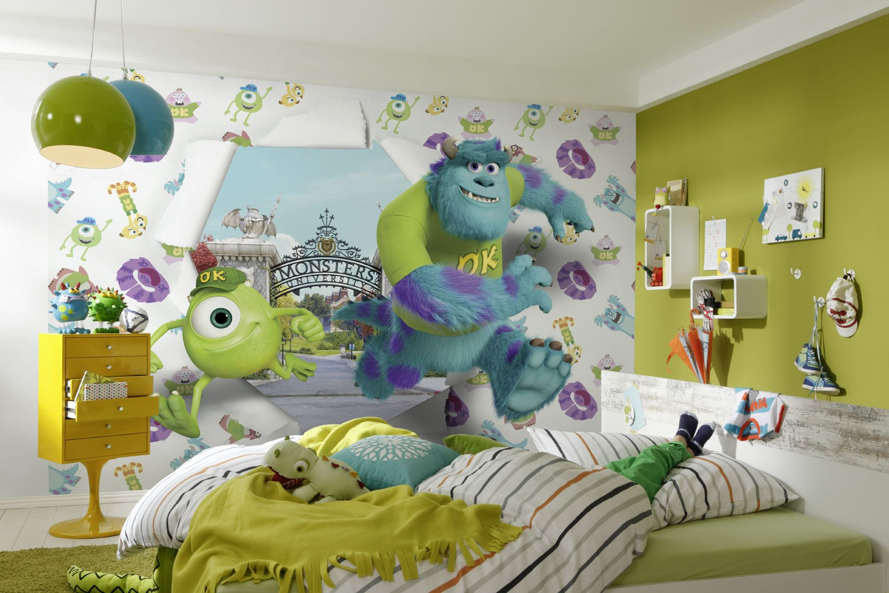 fototapete kindertapete monsters university 368x254 disney cartoon kinderzimmer ebay. Black Bedroom Furniture Sets. Home Design Ideas