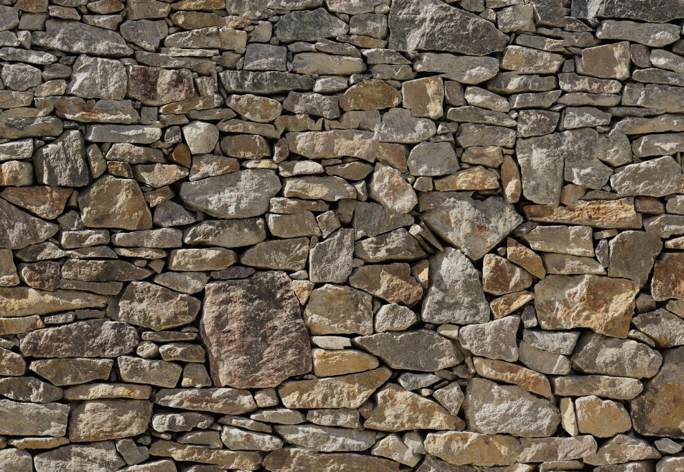 Fototapete STONE WALL 368x254cm Steine Felsen Mauer ...