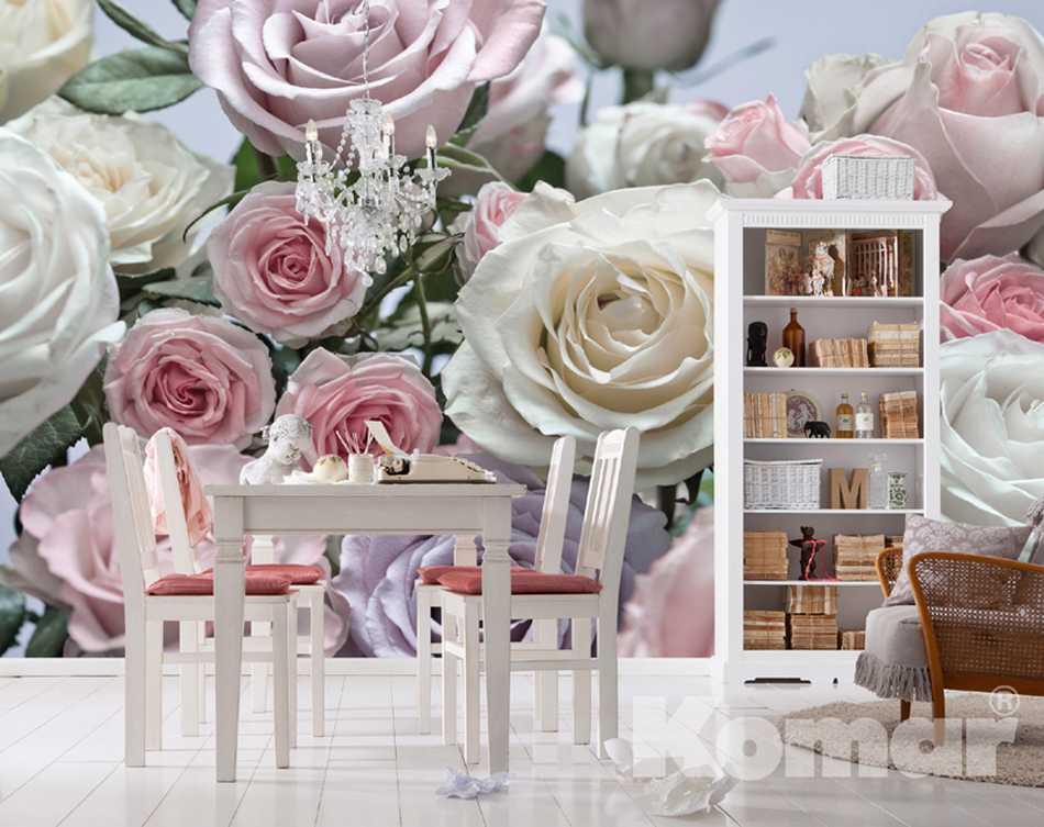fototapete floraison 368x254 weisse rosen hellrosa rosa. Black Bedroom Furniture Sets. Home Design Ideas