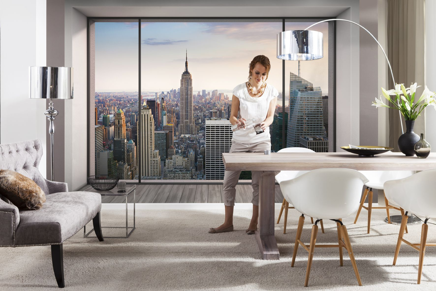 fototapete penthouse 368x254 new york loft in manhattan empire state skyline ebay. Black Bedroom Furniture Sets. Home Design Ideas