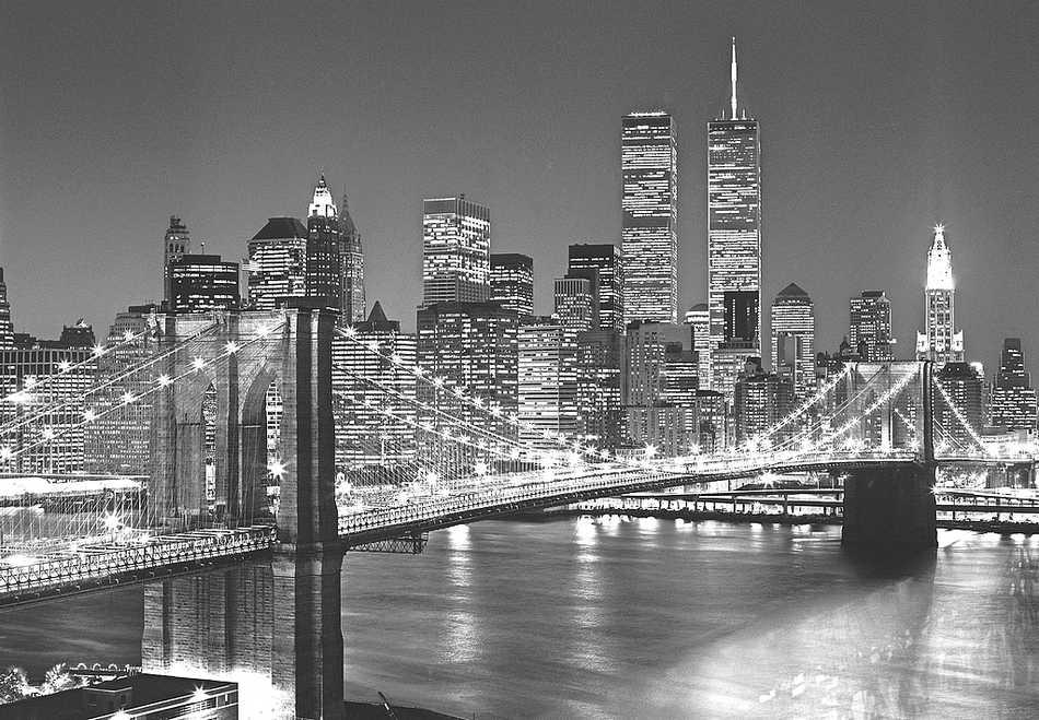 fototapete brooklyn bridge 175x115 new york manhattan bei nacht usa twin towers ebay