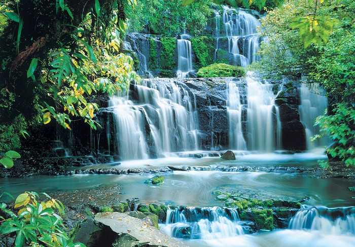fototapete pura kaunui falls 368x254 cm wasserfall wald. Black Bedroom Furniture Sets. Home Design Ideas